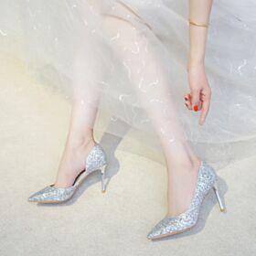 Zapatos Tacon Stilettos Tacon Alto 2019 Zapatos De Boda En Punta Fina Plateados Zapatos Mujer Fiesta Brillantes Con Purpurina