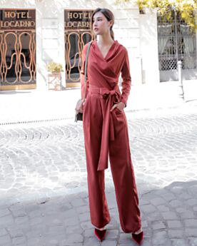 A Portafoglio Pantaloni Larghi Jumpsuit Pantaloni A Vita Alta Lunghi Uscire Maniche Lunghe Con Fiocco Casual