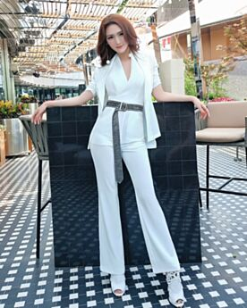 Cigarette White Backless Halter Plunge 2019 Fashion Jumpsuit High Waisted Pants With Coat Wrap Going Out