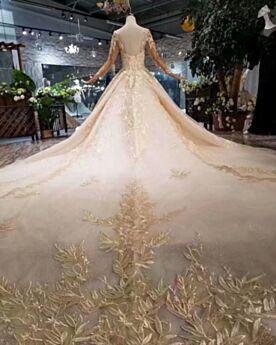2019 Dos Nu Robe De Mariée Manche Longue Dentelle Brillante Princesse Belle Appliques Glitter