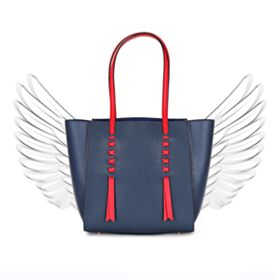Soft Fashion Dark Blue Tote Purse For Women Color Block Shoulder Bag