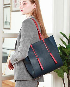 Soft Fashion Dark Blue Tote Purse For Women Color Block Shoulder Bag