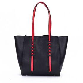 Handtaschen Umhängetasche Schwarz Tote Bag Schlichte Modern Leder