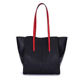 Tote Shoulder Bag Purse For Women Fashion Simple Color Block Black Leather Full Grain