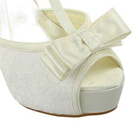 Chaussure De Mariée Plateforme Dentelle 13 cm Talon Haut Belle Sandales Ivoire Noeud T Sangle Talons Aiguilles