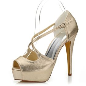 13 cm High Heels Sandals Wedding Shoes Sparkly Prom Shoes Gold Sequin Peep Toe Strappy Platform
