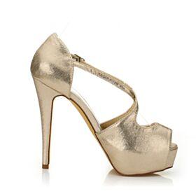 Peeptoes De Lentejuelas 2020 Plataforma 13 cm Tacon Alto Dorados Stiletto Tiras Sandalias Mujer Zapatos Para Fiesta