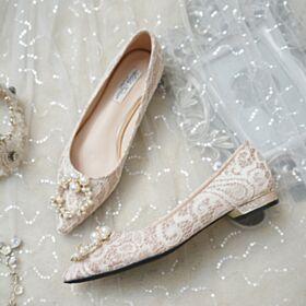 Zapatos Para Novia Elegantes Color Champagne Planas Con Encaje Ballerina Perlas De Punta Fina