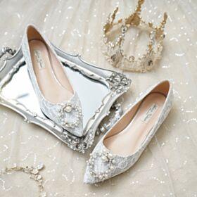 Elegante Trouwschoenen Champagne Gouden Runtige Neus Ballerina Schoenen Kanten