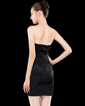 Black Short Sheath Cocktail Dresses Cute Organza Simple For Juniors Pleated Open Back Empire Strapless
