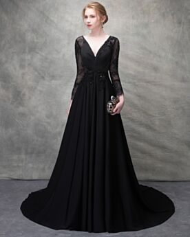 Prom Dresses Formal Evening Dress Beading Open Back Chiffon Elegant Lace Low Cut Long Sexy Summer Black Long Sleeve Princess