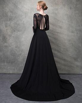 Robe Soirée Longue Robe De Bal Noir Dos Nu Mousseline Décolleté Perlage Princesse D été Transparente Dentelle Avec La Queue Manche Longue Sexy