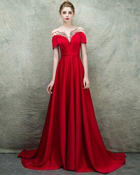Epaule Dénudée Rouge Maxi Empire Élégant Avec La Queue Satin Princesse Robe Soirée Robe De Bal Perlage