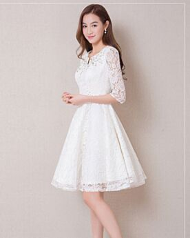 White Cocktail Dresses Princess Lace Cute Graduation Dresses Mini