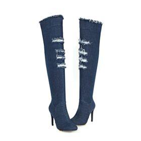 Bottes Cuissardes 10 cm Bottes Hautes Talons Hauts 2018 Talon Aiguille Jeans Jambe large Troué De Sortie
