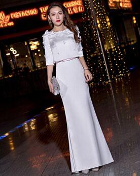 Halbe Ärmel Chiffon Abendkleid Festliche Kleider Weiß Lange Applikationen 2 Teiliges
