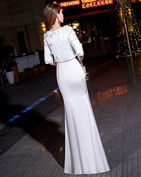 Due Pezzi Vestiti Da Sera Mezza Manica Bianco Vestiti Cerimonia Chiffon Eleganti