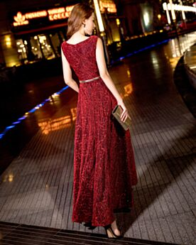 Long Evening Dress Glitter Lace Prom Dresses Elegant Sleeveless Burgundy