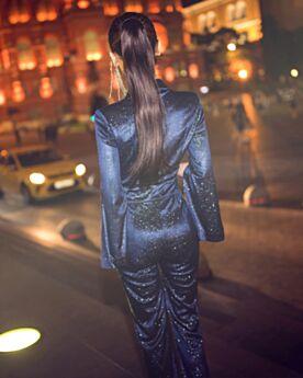 深 v ネック オフィス ラップ ロイヤル ブルー キラキラ ストレート パンツ ドレス フレアスリーブ 長袖 ファッション ロング 90320190116