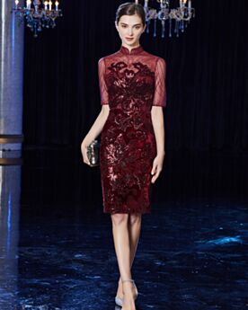 Formal Evening Dresses Knee Length High Neck Mother Of Bridal Dress Party Dress For Wedding Lace Sheath Sequin Sparkly Burgundy Beautiful