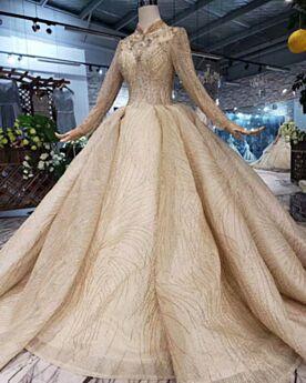 Luxus Gold Prinzessin Lange Ärmel Brautkleider Pailletten Glitzer Hochgeschlossene