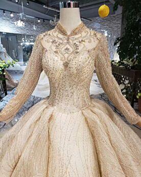 Robes De Mariée Scintillante Col Haut Boule Paillette Dos Nu Dorée Manche Longue Glitter Luxe