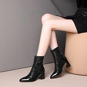 Elasticas De Piel Tacon Medio 7 cm Botines Mujer Chelsea Tacon Ancho Negros De Encaje Botas De Calcetin