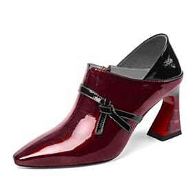 Patent Burgundy Womens Oxford Shoes Office Shoes Thick Heel Shooties Cone Heel Mid High Heeled