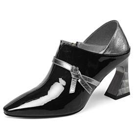 Schwarz Business Schuhe Chunky Heel Spitz Zeh Oxford Schuhe Leder 7 cm Mittel Heel