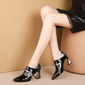 7 cm Mid Heels Office Shoes Leather Pointed Toe Chunky Heel Black Oxford Shoes