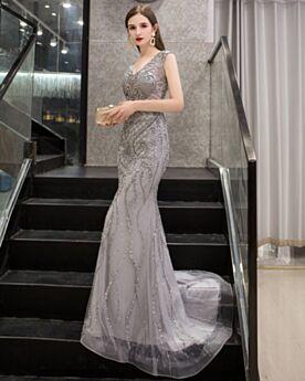 Sheath Long Gray Beaded Elegant Prom Dresses Open Back Gala Evening Dress Sparkly 2020 Lace Low Cut