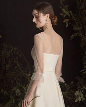 Kurze Tiefer Ausschnitt Transparentes Trauzeugin Cocktailkleider Hochzeitsgäste Beige Fit N Flare Lange Ärmel