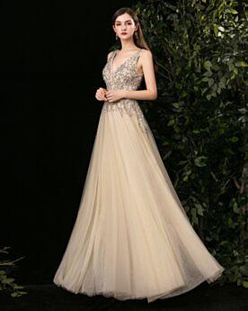 Largos Color Champagne Lujo Vestidos De Noche Espalda Descubierta Escotados Corte Imperio