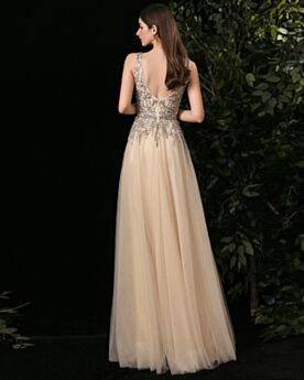 Long Low Cut Homecoming Dress Tulle Empire Evening Dress Charming Luxury