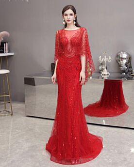 Rot Verlobungskleider Glitzernden Pailletten Halbe Ärmel Lange Kristall Transparentes Luxus Abendkleid