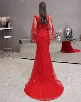 Sequin Prom Formal Dresses Scoop Neck Engagement Dress Sparkly Mermaid Red With Rhinestones Half Sleeve