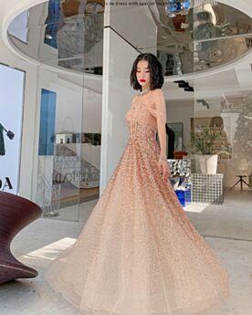 Or Epaule Nu Epaule Dénudée Sequin Luxe Longue Robe Ceremonie Robe Nouvel An Robes De Soirée