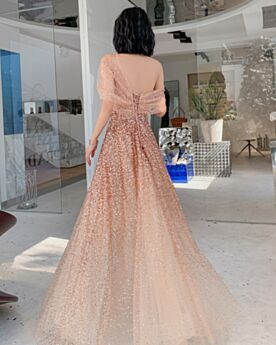 Tulle Long Backless Spring Princess Sweet 16 Dress Off The Shoulder Formal Evening Dress Party Gowns Gold Sparkly Sequin