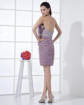 Lavanda Con Cuentas Vestidos De Coctel Strapless Escote Corazon Corto Sexys Gasa Plisado Vestidos De Fiesta Para Invitada Boda