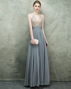 Empire Backless Long Low Cut Gorgeous Beading Chiffon Formal Evening Dresses