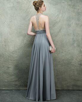 Luxe Sexy Mousseline Sans Manches Robe Soirée Perlage Dos Nu Robe Gala Décolleté Longue Grise Empire