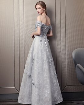 Long Tulle Backless Evening Dress Empire Off The Shoulder Bridesmaid Dress 2018 Lace Elegant Gray