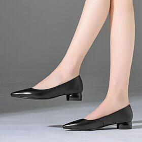 Sencillos Zapatos Tacones Informales De Punta Fina Negro 3 cm Tacon Bajo Vestido Para Trabajo Piel