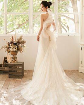 Tüll Rückenfreies Creme Strand Rüschen Spitzen Hochgeschlossene Ärmellos Lange Etui Elegante Applikationen Brautkleider