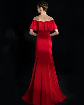 Peplum Long Red Beautiful 2018 Evening Dresses Beaded Mermaid Short Sleeve Prom Dress Off The Shoulder