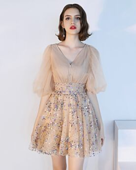 Cocktail Dresses Short Bell Sleeve Sparkly Plunge Tulle Sequin