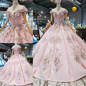 Ball Gown Lace Sparkly Quinceanera Dresses 2019 Prom Dresses Sweet 16 Dresses Backless Low Cut Pink Glitter Dress For Special Occasion