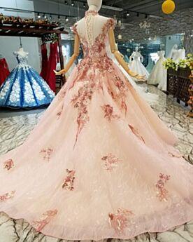 Hochgeschlossene Mit Schleppe Quinceanera Kleid Transparentes Ballkleid Elegante Lange Spitzen Lyserosa Rückenfreies