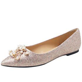 Scarpe Cerimonia Con Perle Oro Rosa Basse Scarpe Da Sposa Ballerine