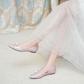Zapatos De Fiesta Purpurina Oro Rosa Con Perlas Planas Zapatos De Boda Brillantes Ballerina Zapatos En Punta Fina